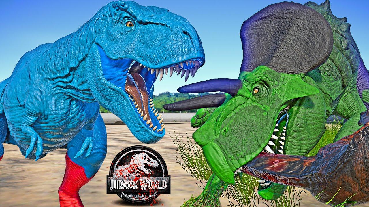 Superman Tyrannosaurus Rex vs HULK Ultimasaurus Dinosaurs Fight 🌍 JURASSIC WORLD EVOLUTION