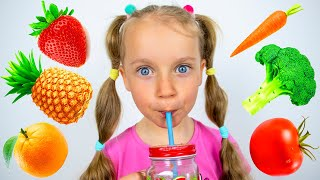 Gaby and Mom Fruits and Vegetables smoothie challenge   Gaby and Alex Show
