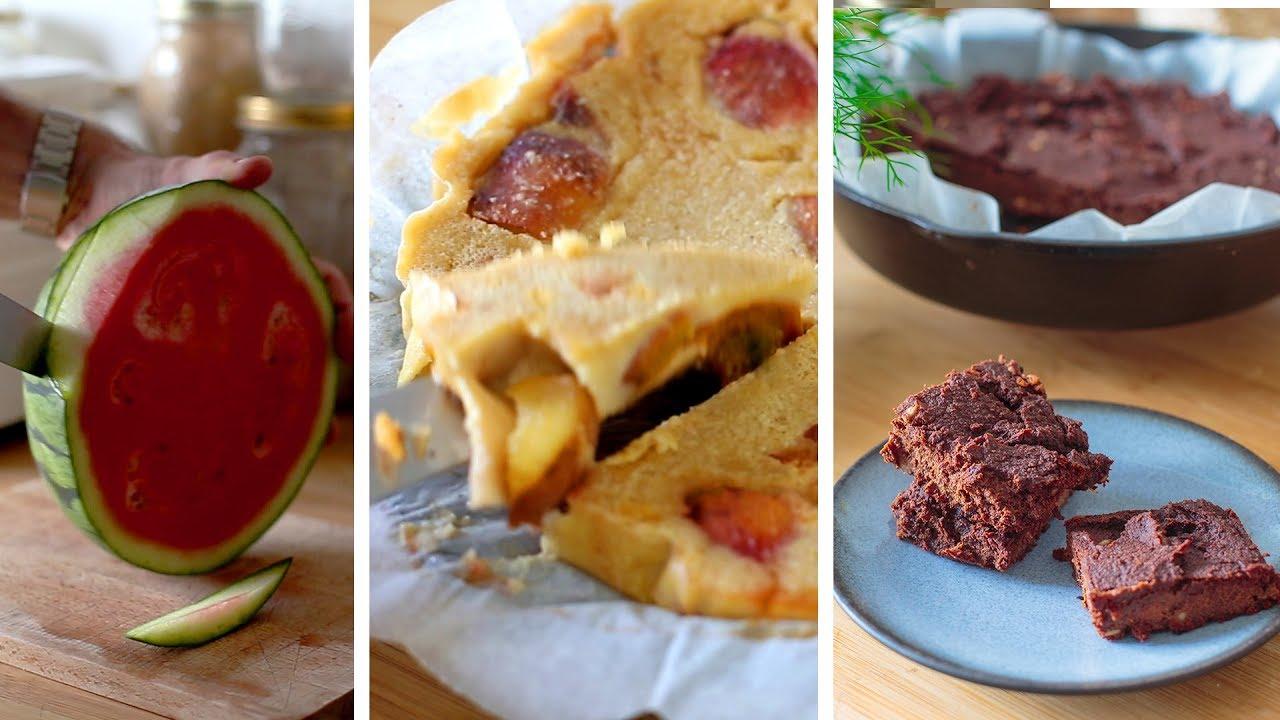 Semaine IG bas 2/3 : Gâteaux (pastèques, chocolat/légumes) et clafoutis à la poêle