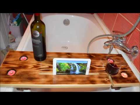 Wooden bath tray table - YouTube