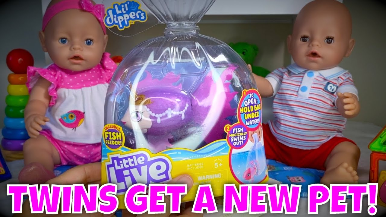 🐳 Baby Born Twins Get A New Pet & Have A Pool Party! 🐠 Little Live Pets Lil Dippers Unboxing!🤗