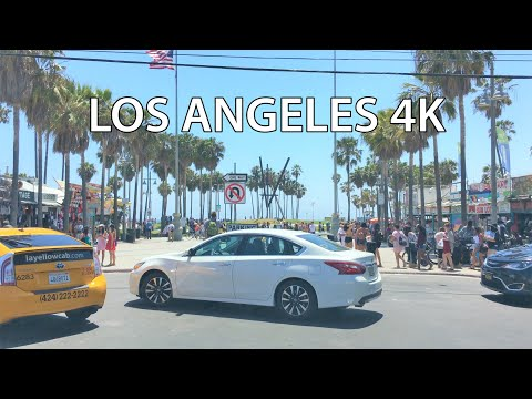 Los Angeles 4K - Venice Beach - Driving Downtown USA
