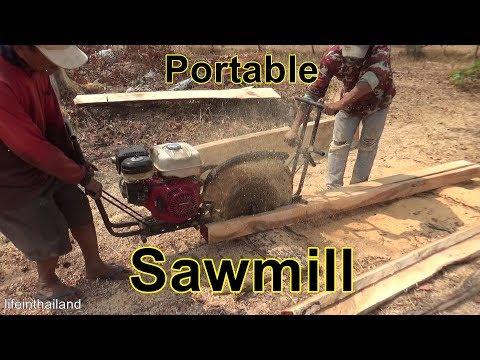 Portable Homemade Sawmill in Rural Thailand.