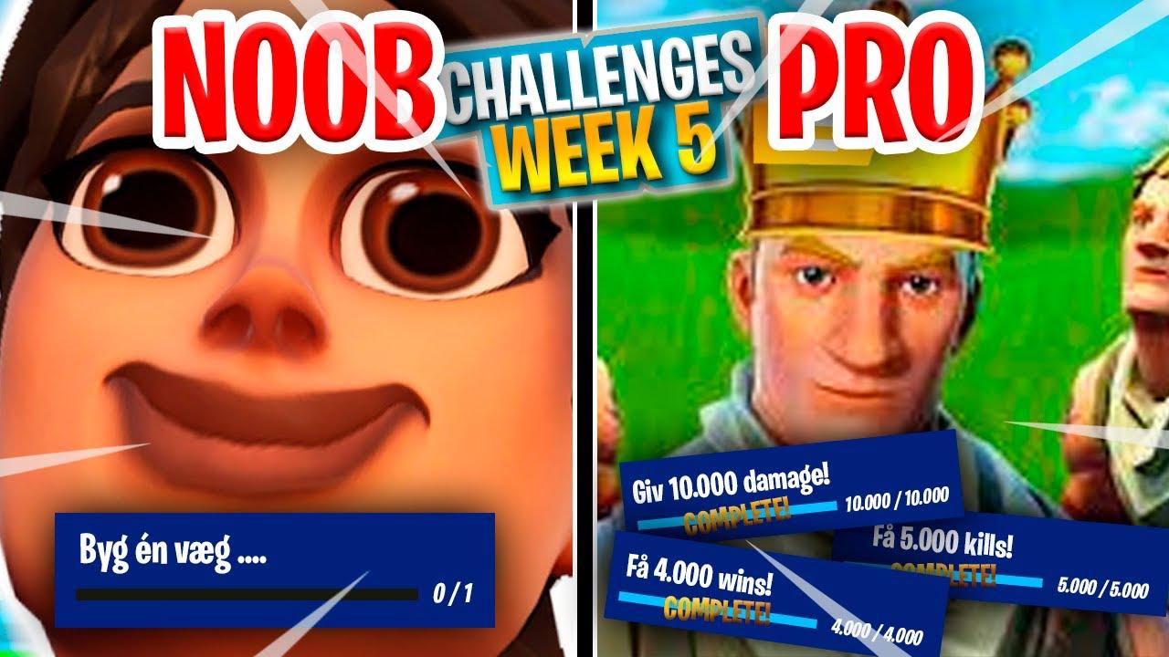 NOOB & PRO vs. CHALLENGES *WEEK 5* :: Fortnite Dansk m. Vercinger og GoldenJ