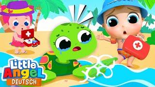 Wir retten die Baby-Schildkröte! | Zeichentrick | Little Angel Deutsch
