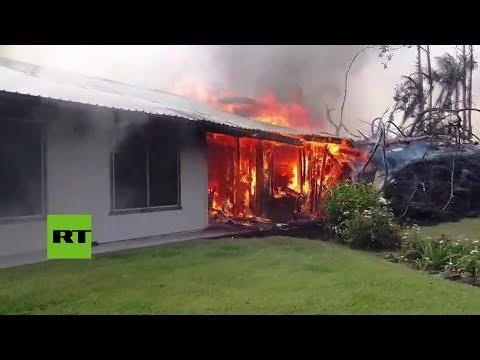 Ríos de lava incendian viviendas en Hawái