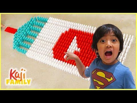Ryan plays Domino Challenge Falling fun!!!