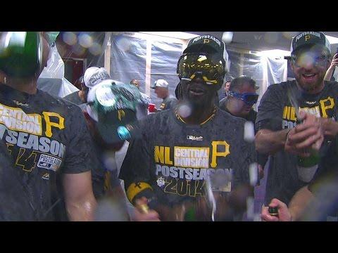 PIT@ATL: Pirates clinch playoff spot, celebrate