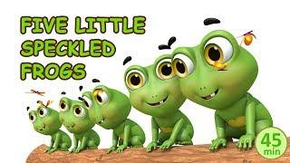 five little speckled frogs sat on a speckled log | Jugnu kids Nursery Rhymes & Kids Songs
