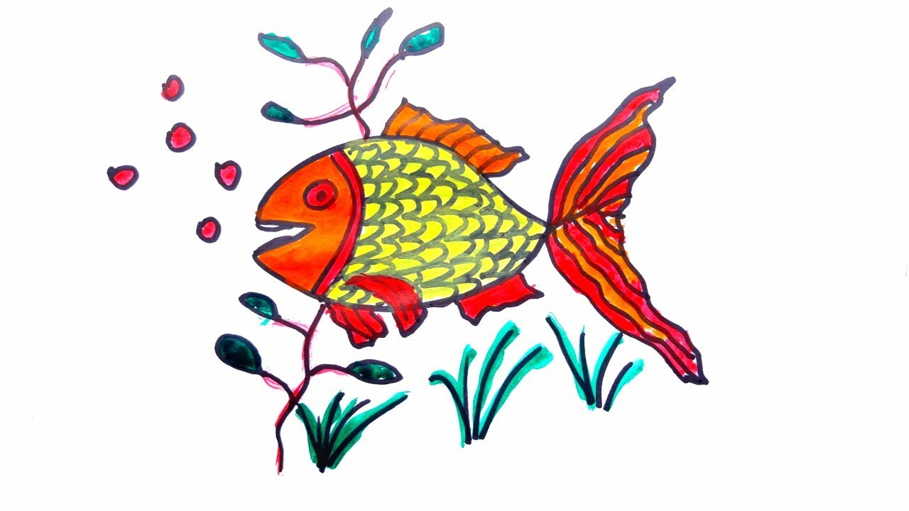 How to Draw a Fish-Coloring Pages-Draw a Fish -Kids Coloring-With ...