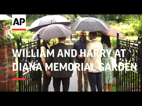 William and Harry visit Diana memorial garden