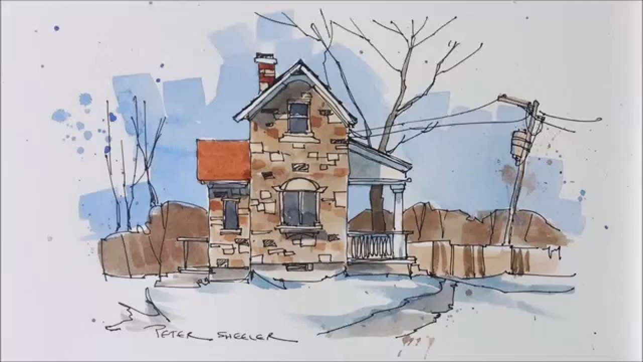Line Art Watercolor : Line and wash demonstration of a stone farmhouse