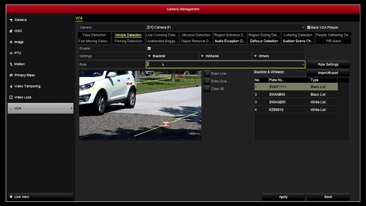 Hikvision Recorder layout License Plate Recognition (LPR)