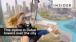 This insane zipline in Dubai towers over the city