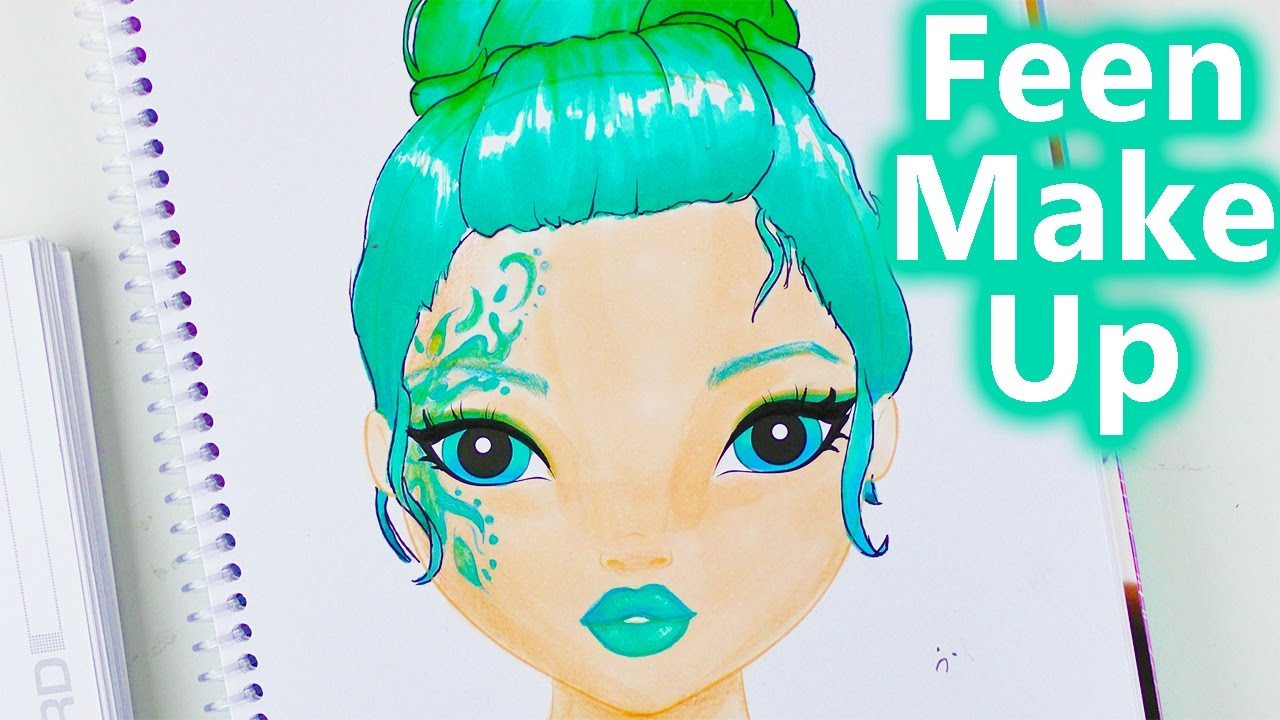 feen make up haare in blau t nen topmodel malbuch speed drawing how to youtube. Black Bedroom Furniture Sets. Home Design Ideas