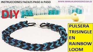 Repeat youtube video COMO HACER PULSERA ELÁSTICA MODELO TRISINGLE (3 PINS) EN TELAR RAINBOW LOOM TUTORIAL ESPAÑOL DIY