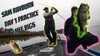 Bass Fishing Sam Rayburn Reservoir 2021 MLF Big 5 Practice Day 1
