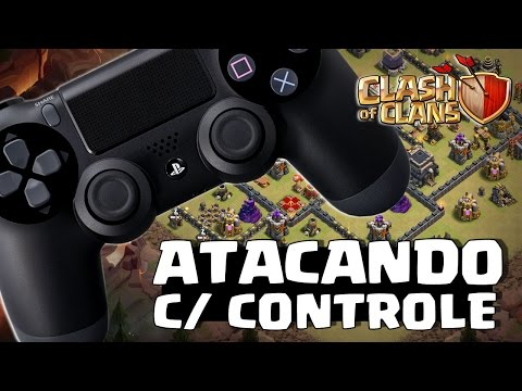 ATACANDO NO CLASH OF CLANS C/ CONTROLE DE PLAYSTATION 4
