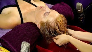 ASMR Spa Treatment- Corrina Washes Adrienne's Hair, Scalp Massage & Deep Conditioning