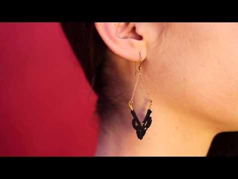WEVE Jewelry- Moss Handmade Vintage V Earrings Black/Brass