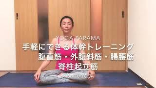 短時間で、お腹回りのトレーニング♫ 腹直筋・外腹斜筋・腸腰筋・脊柱起立筋を鍛えます。 腰を床の方へ落とさないよう気をつけてください。...