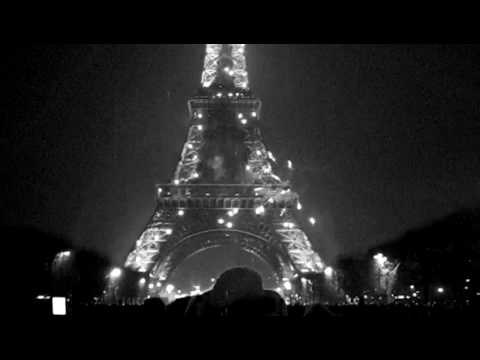 Eiffel Tower New Years Eve Midnight Black & White