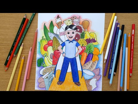 Easy Poster Making For Nutrition Month Complete Food Youtube