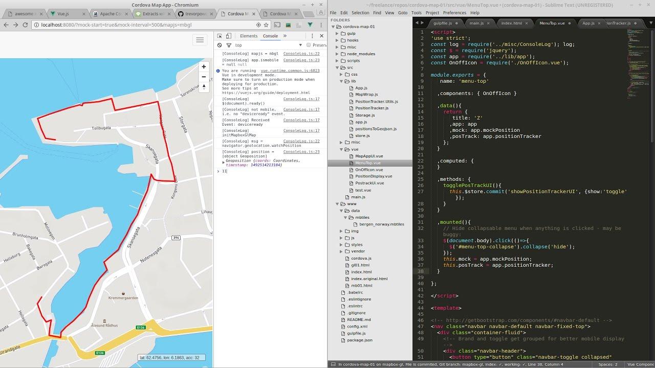 Cordova map app with Mapbox Leaflet VueJS [no SDK]