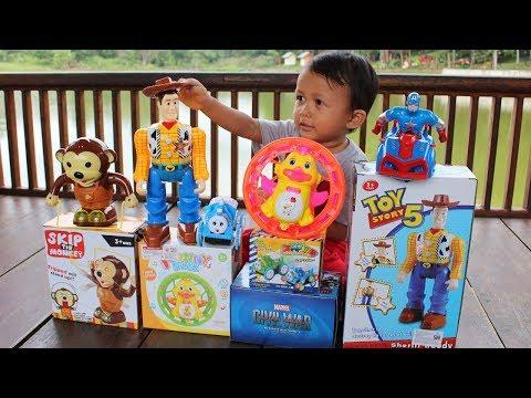 Mainan Mobil Avengers, Sheriff Woody, Monyet Skipping, Kereta Api Thomas dan Ayam Lucu