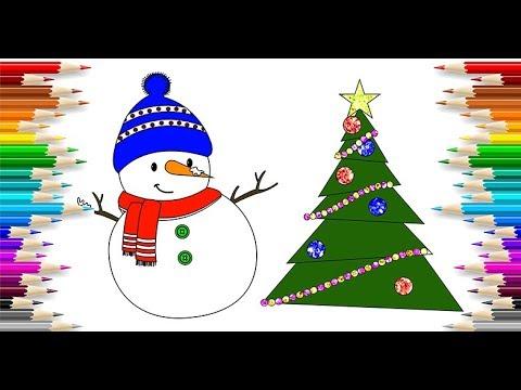 Simli Kardanadam Ve Yılbaşı Ağacı Boyama Glittering Snowman And