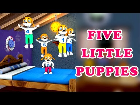 Five Little Puppies Jumping on The Bed Song | Nursery Rhymes and 3D Animation Rhymes For Children
