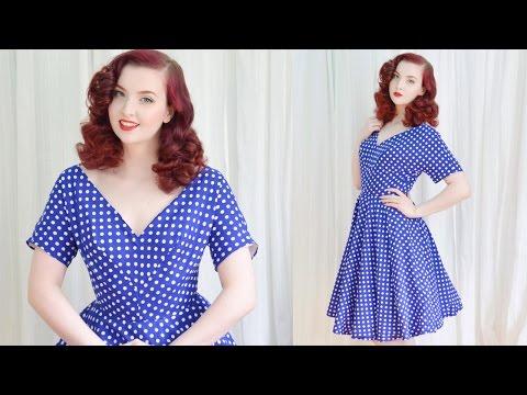 Making a 1950's Dress / Blue Dotted Dress