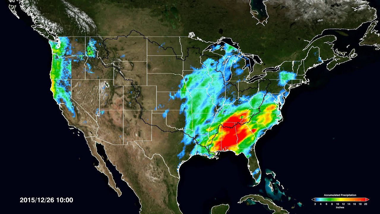 Rainfall Accumulation over the United States for December 2015