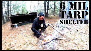 Building a 6 Mil Tarp Shelter by a Lake - Overnight Camp/ Grilled Steak