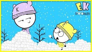 Snow Ball Fight Emma Vs. Kate - EK Doodles Funny Animation