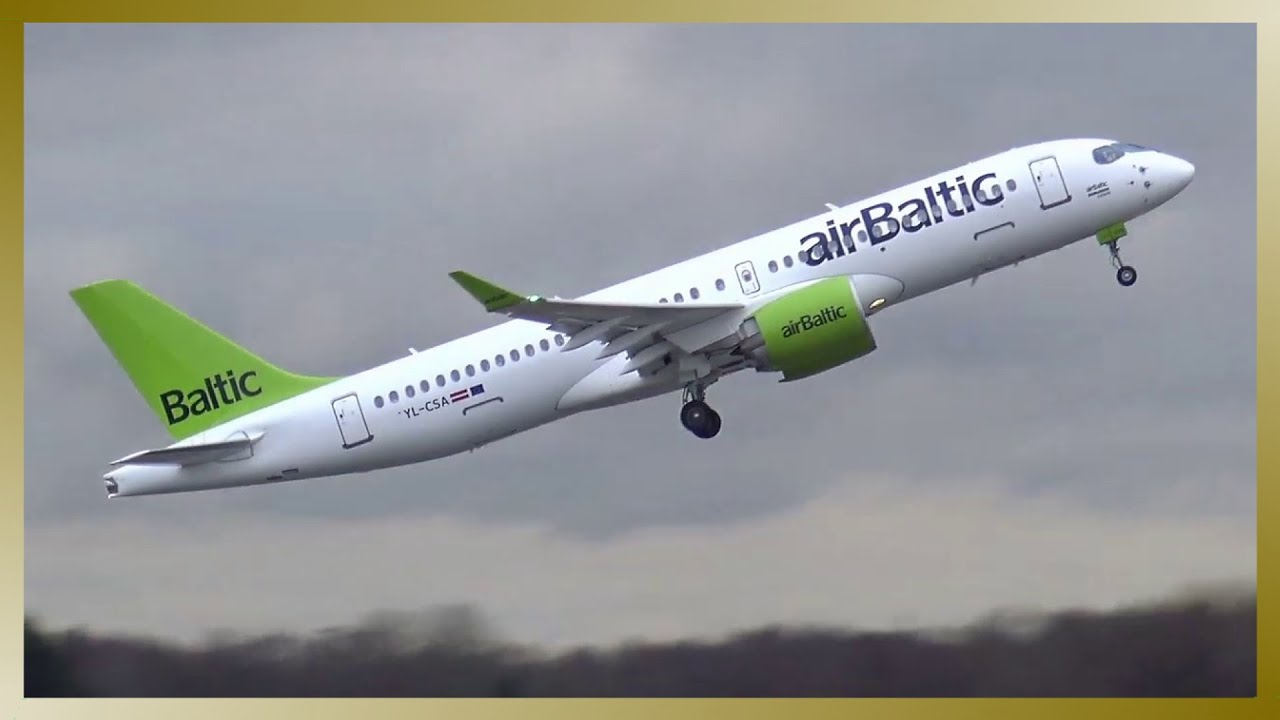 AIR BALTIC // Airbus A220-300 (Bombardier CSeries CS300) // Takeoff from  Hamburg Airport