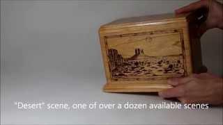Cherry Wood Deep Laser Carved Cremation Urn