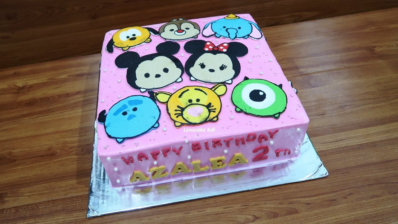 How To Decorating Birthday Cake Character The Most Disney Tsum Tsum Plus 12 Cupcakes