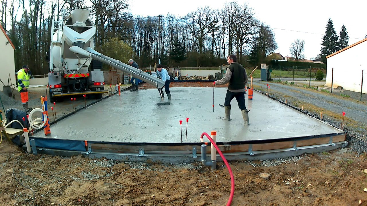 coulage dalle avec du beton autonivelant