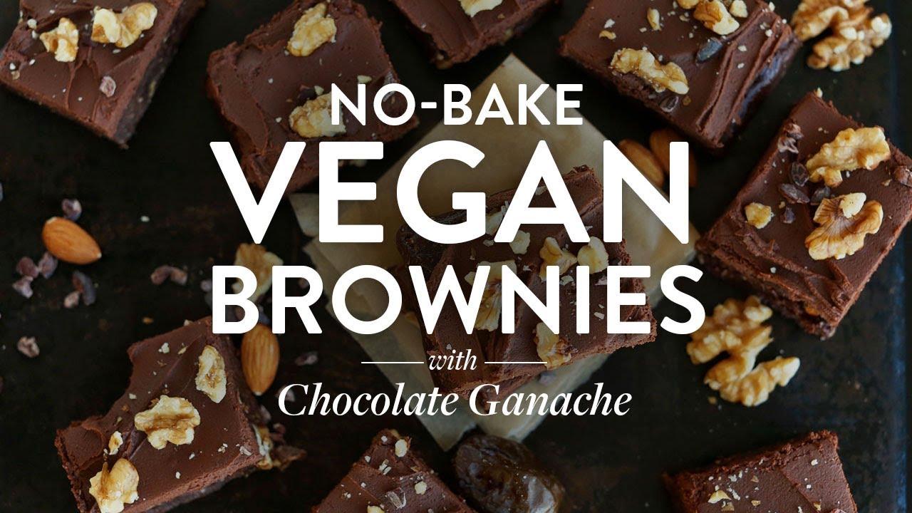 No-Bake Vegan Brownies with Chocolate Ganache