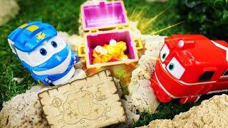 Видео для малышей. Машины сказки про игрушки из мультиков Роботы поезда и карту сокровищ!