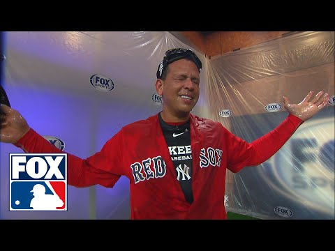 David Ortiz gives Alex Rodriguez a champagne shower while wearing a Red Sox jersey | FOX MLB