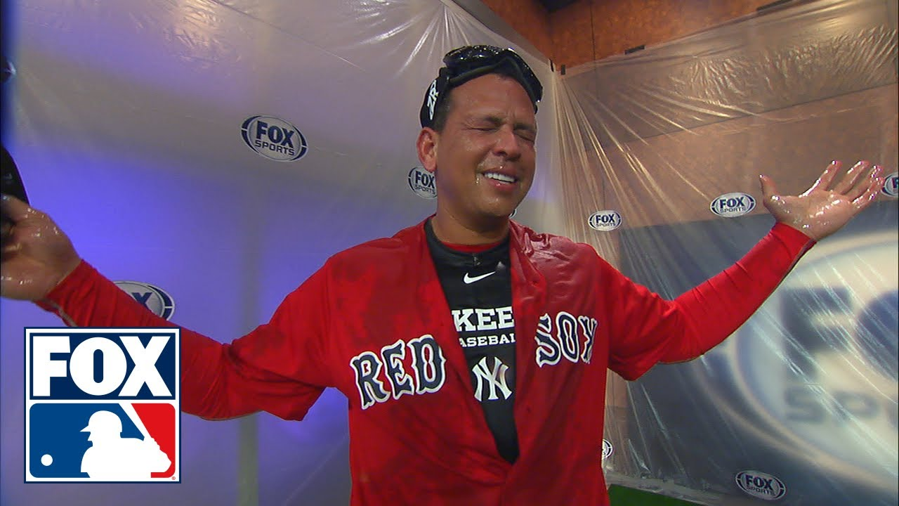 online store d10d5 f0e82 David Ortiz gives Alex Rodriguez a champagne shower while wearing a Red Sox  jersey | FOX MLB