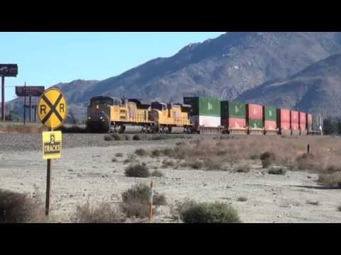 UNION PACIFIC FREIGHT TRAINS, at Palm Springs, California.
