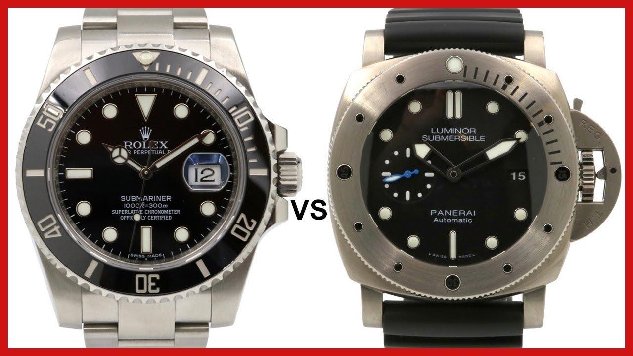 5871f83cbbf Rolex Submariner vs Panerai Luminor Submersible Titanium - Diver Watch  COMPARISON