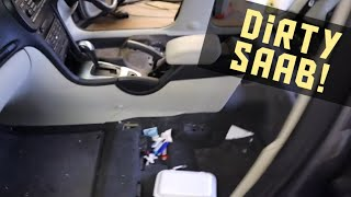 Cleaning a really dirty Saab car