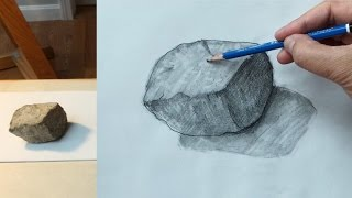 How to draw a rock with pencil, #1