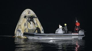 video: SpaceX: Four astronauts safely return to Earth in Nasa's first nighttime ocean landing in more than 50 years