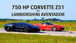 700 HP Lamborghini Aventador vs 750 HP Hennessey Corvette Roll Racing