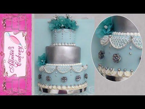 """Silver Sky"" Display Wedding Cake"